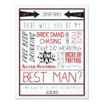 Dude, Will you be my Best Man? Red/Black Collage Custom Announcements