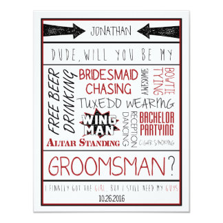 Dude, Will you be my Groomsman? Red/Black Collage 11 Cm X 14 Cm Invitation Card