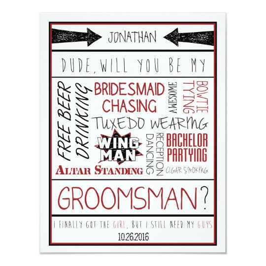 Dude, Will you be my Groomsman? Red/Black Collage