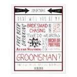 Dude, Will you be my Groomsman? Red/Black Collage Custom Invites