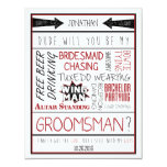 Dude, Will you be my Groomsman? Red/Black Collage Invitations