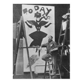 Dudley Hardy painting a poster Postcard