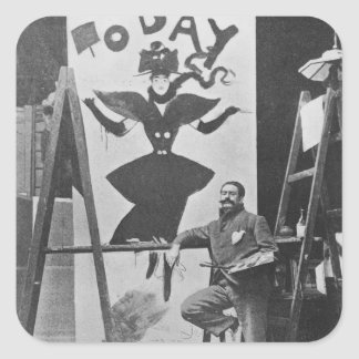 Dudley Hardy painting a poster Square Sticker