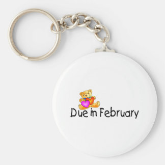 Due In February (Teddy) Basic Round Button Key Ring