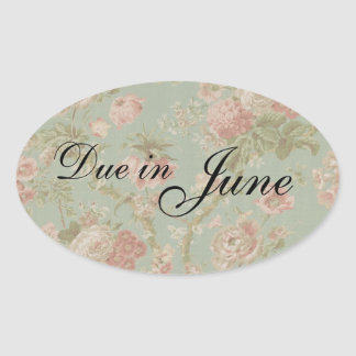 """Due in June"" Vintage Baby Shower Stickers"
