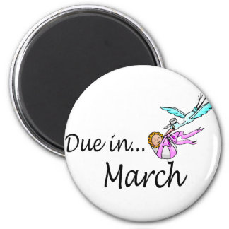 Due In March (Baby/Stork) 6 Cm Round Magnet
