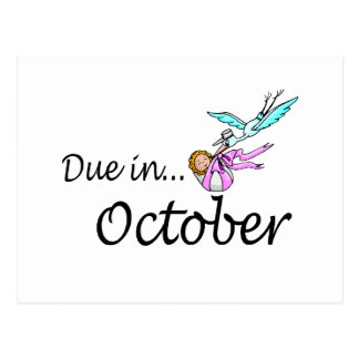 Due In October (Baby/Stork) Postcard