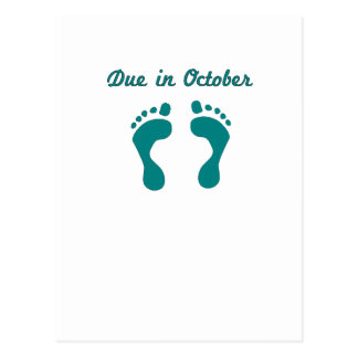 DUE IN October BLUE BABY FEET.png Postcard