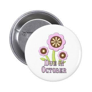 Due in October Expectant Mother Pinback Buttons