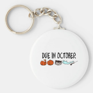 Due In October Basic Round Button Key Ring