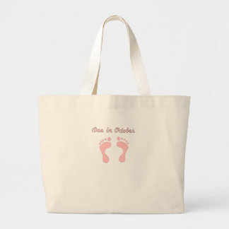 DUE IN October PINK BABY FEET.png Canvas Bags