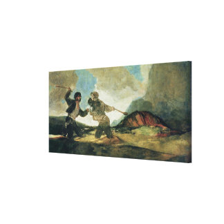 Duel with Clubs Stretched Canvas Print