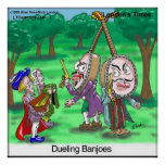 Duelling Banjoes Funny Cartoon Poster by Rick