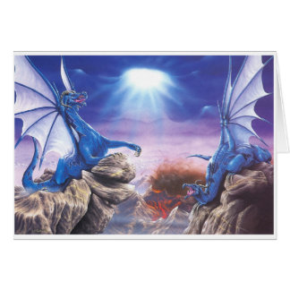 DUELLING DRAGONS GREETING CARD
