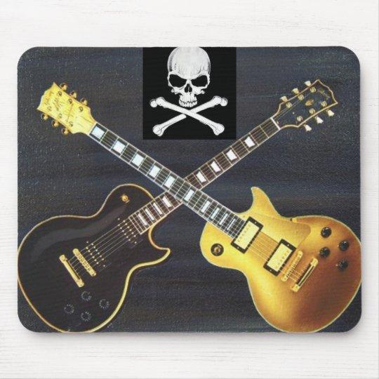 Duelling Guitars Skull & Crossbones Mousepad