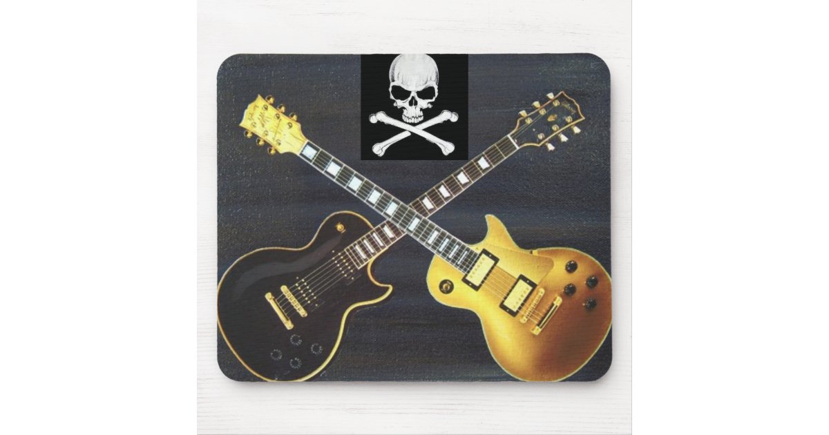 Duelling Guitars Skull & Crossbones Mousepad | Zazzle.co.uk