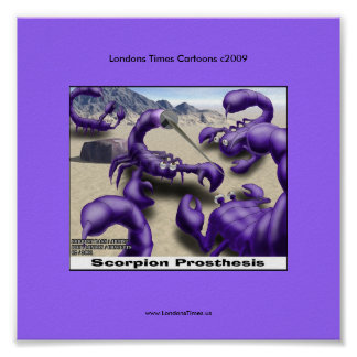 Duelling Scorpions Funny Cartoon Posters