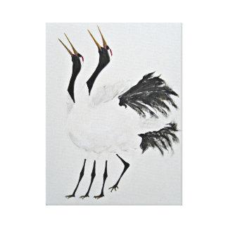 Duet Of The  Golden-beaked Cranes Canvas Print