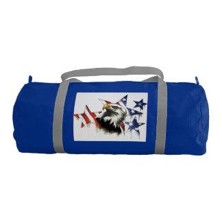 Duffle Gym Bag, Regatta Blue with Silver straps Gym Duffel Bag