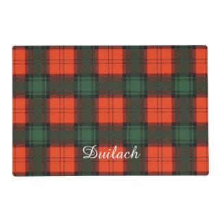 Duilach clan Plaid Scottish kilt tartan Laminated Place Mat