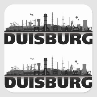 Duisburg city of skyline - gift ideas square sticker