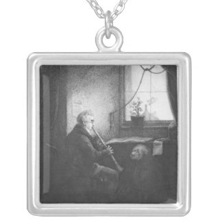 Duke Esterhazy Playing the Clarinet, 1809 Silver Plated Necklace