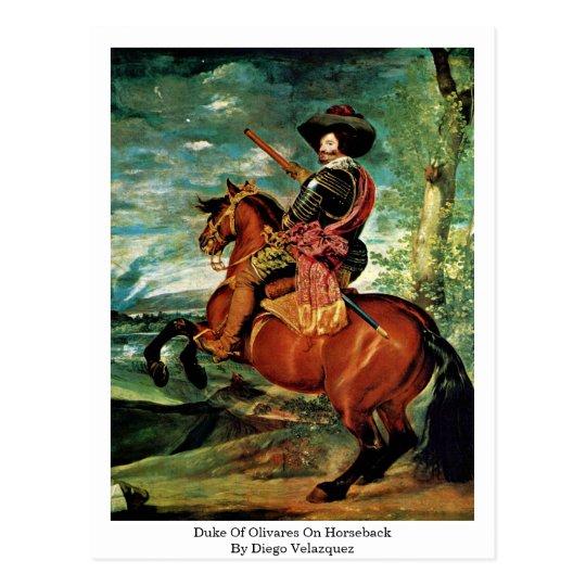 Duke Of Olivares On Horseback By Diego Velazquez Postcard