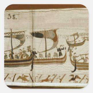 Duke William and his fleet cross Pevensey Square Sticker