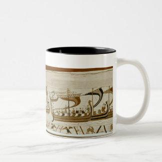 Duke William and his fleet cross Pevensey Two-Tone Coffee Mug