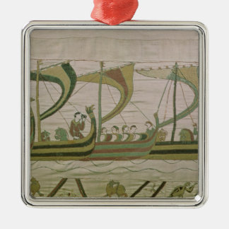 Duke William and his fleet cross the Channel Silver-Colored Square Decoration