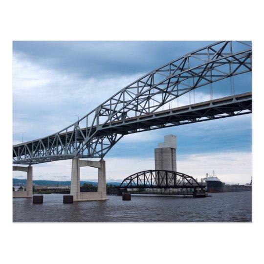 Duluth Harbour Bridges on Lake Superior Postcard