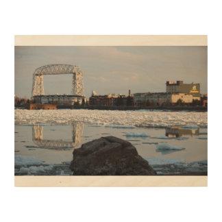 Duluth Minnesota Ariel Lift Bridge Canal Park Wood Print