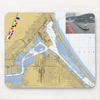 Duluth, MN Harbor Chart Signal Flags ship Mouse Mat