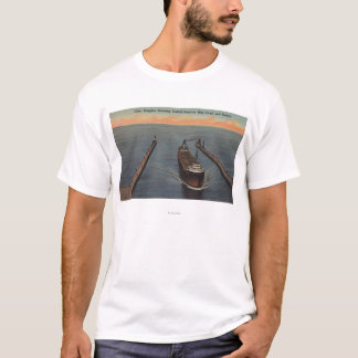 Duluth, MN - View of Freighter Entering Ship T-Shirt
