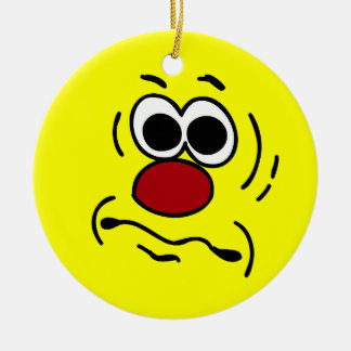 Dumb Smiley Face Grumpey Christmas Ornament