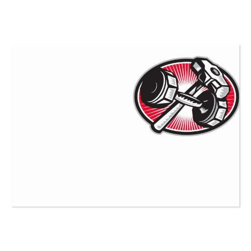 Dumbbell and Sledgehammer Retro Business Cards