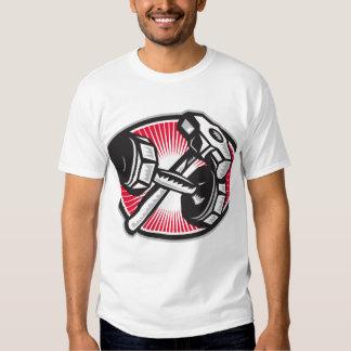 Dumbbell and Sledgehammer Retro T-shirt