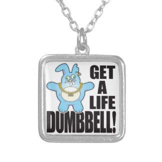 Dumbbell Bad Bun Life Square Pendant Necklace