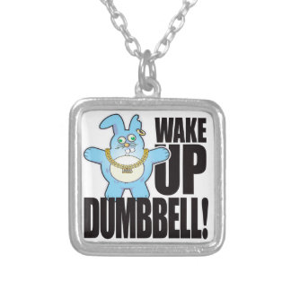 Dumbbell Bad Bun Wake Square Pendant Necklace
