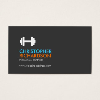 Dumbbell Logo Fitness Personal Trainer Orange/Blue Business Card