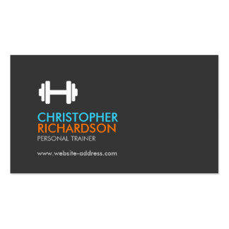 Dumbbell Logo Fitness Personal Trainer Orange/Blue Pack Of Standard Business Cards