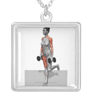 Dumbbell Single Leg Deadlift 2 Square Pendant Necklace