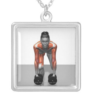 Dumbbell Single Leg Deadlift 3 Silver Plated Necklace