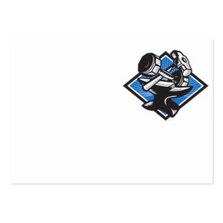 Dumbbell Sledgehammer and Anvil Retro Business Card