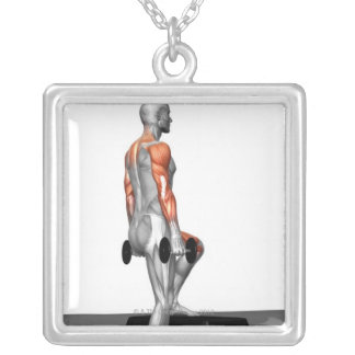 Dumbbell Step Up 2 Square Pendant Necklace