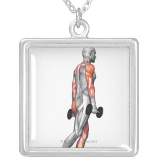 Dumbbell Step Up 3 Square Pendant Necklace