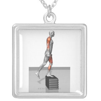Dumbbell Step Up 4 Square Pendant Necklace