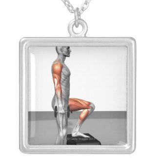 Dumbbell Step Up Square Pendant Necklace