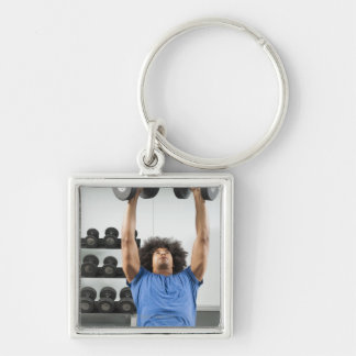 Dumbbellls Silver-Colored Square Key Ring