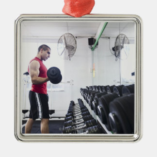 Dumbbells 2 Silver-Colored square decoration